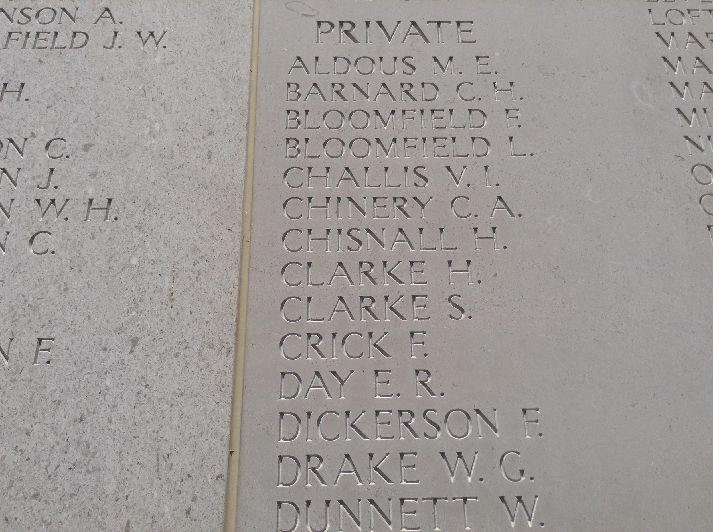 Herbert's name engraved on the Helles Memorial alongside his fallen comrades