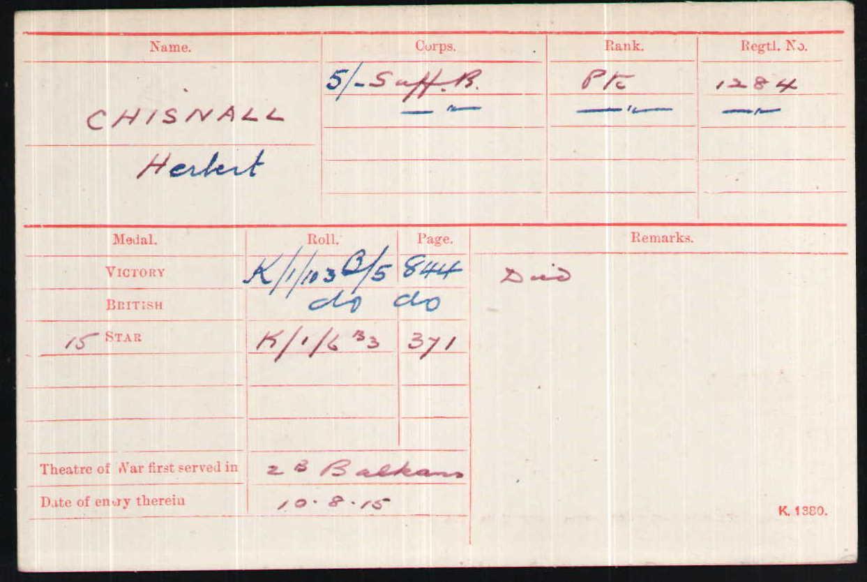 Herbert Chisnall's Medal Index Card
