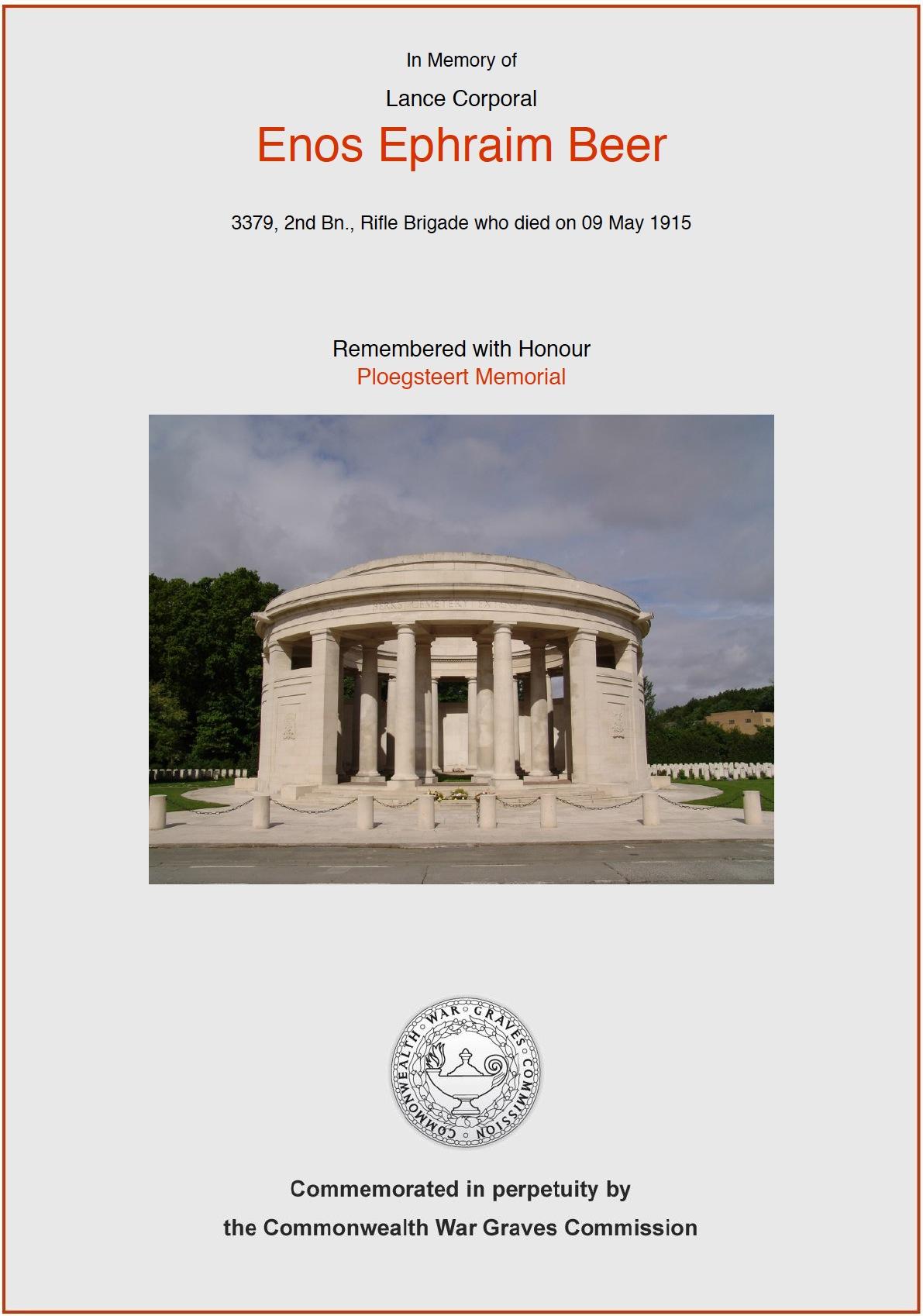 Enos Beer's CWGC Commemorative Certificat5