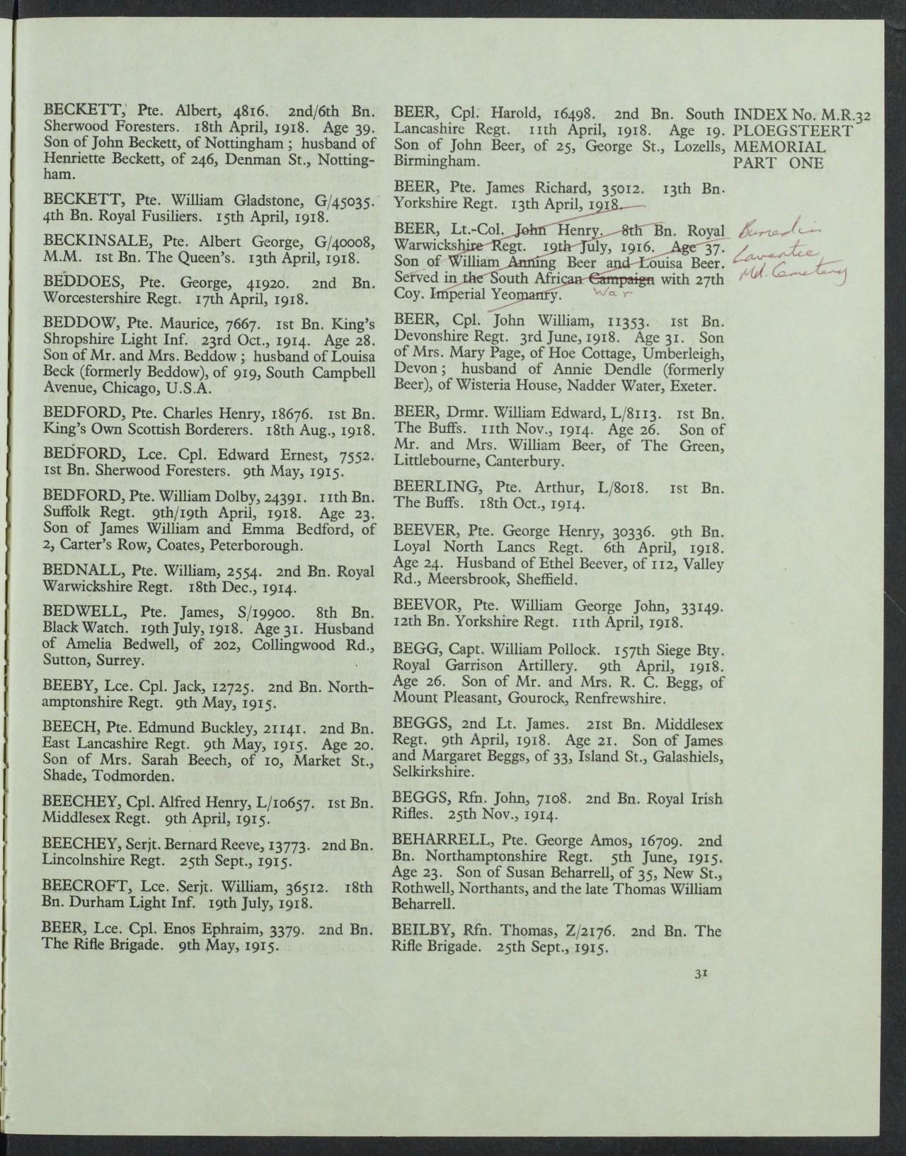 BEER CWGC grave register.JPG