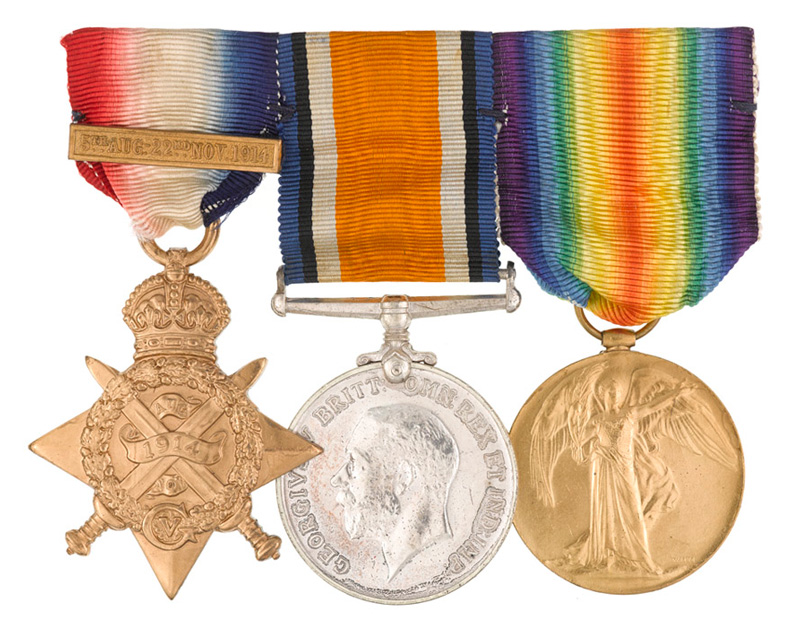 Private Mitchell was entitled to the above three medals; 1914 Star with clasp, British War Medal and the British Victory Medal. The whereabouts of Private Mitchell's actual medals is currently unknown.