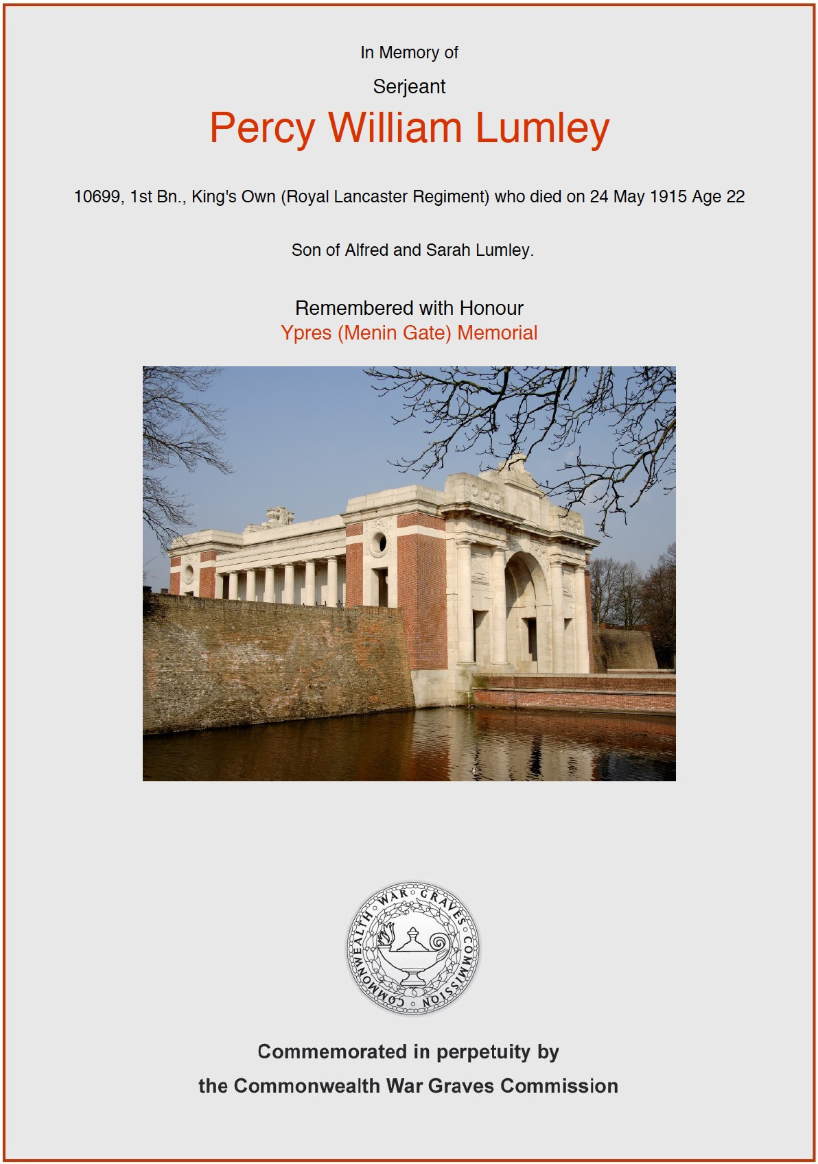 Percy William Lumley's CWGC Commemorative Certificate