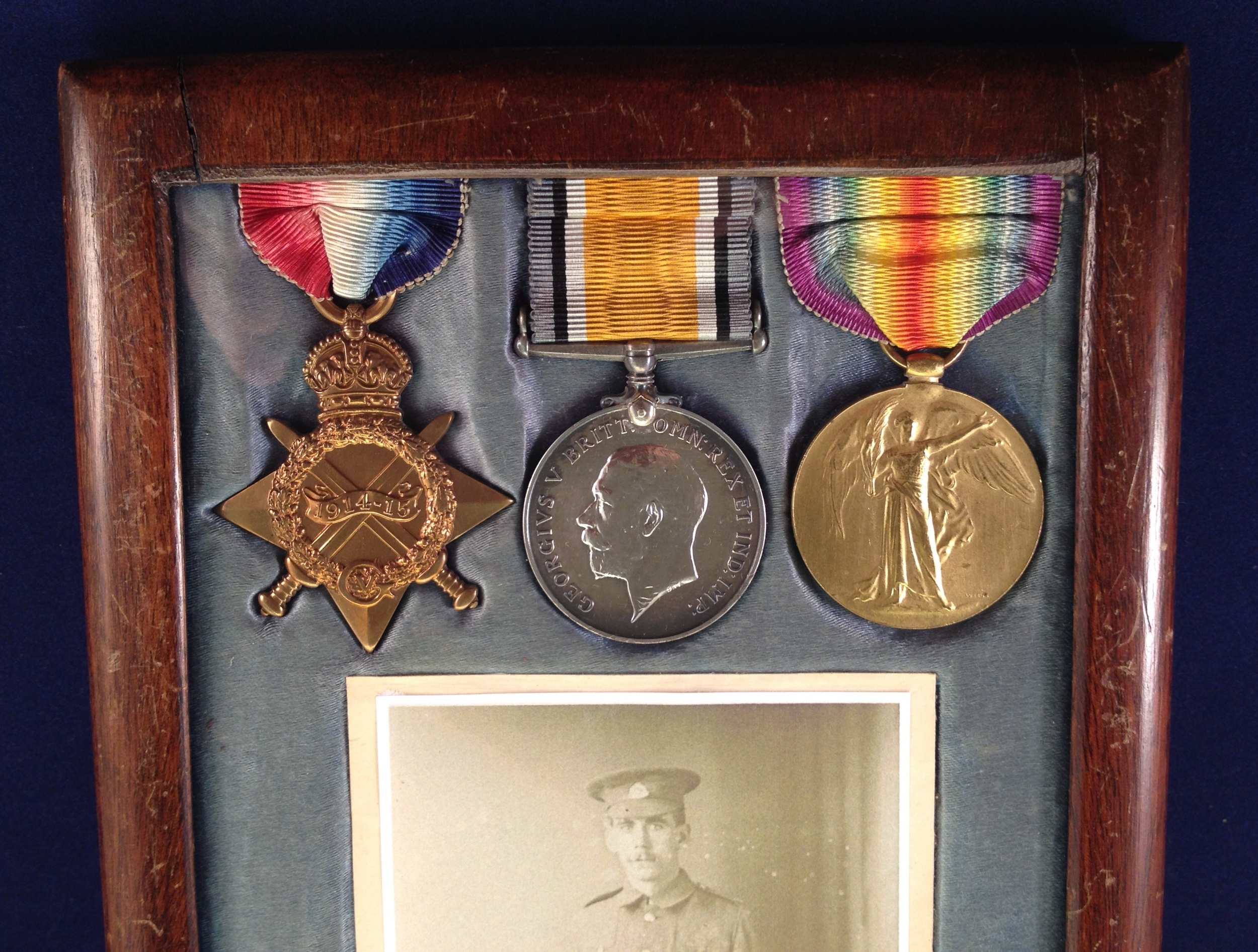 These are Bertie's medals. They were bought by a Hadleigh based collector along with Bertie's memorial plaque.