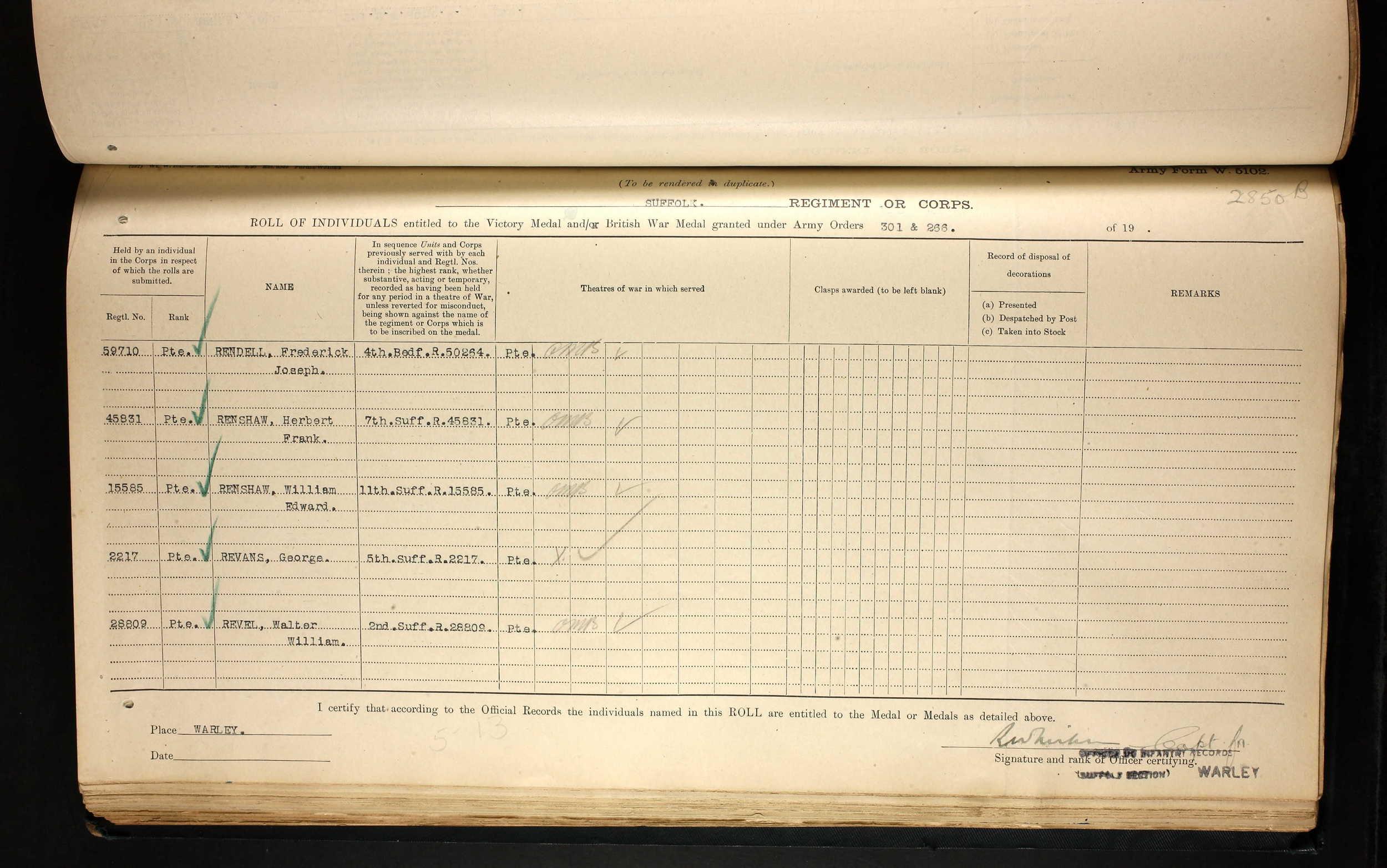 G Revans Brit war & vic medal register.jpg