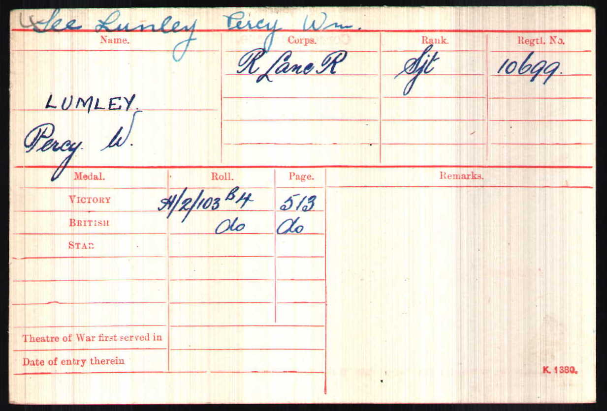 Percy Lumley's Medal Index Cards