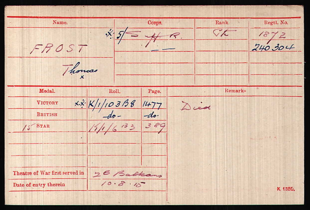 Thomas frost's Medal Card