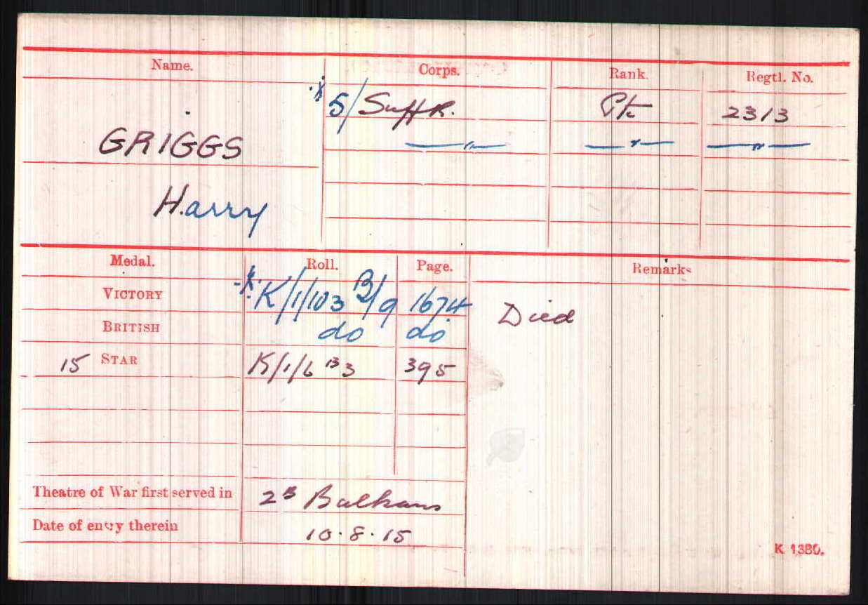 Harry Griggs' Medal Card