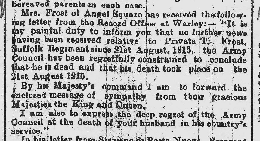 Taken from the Suffolk Free Press of November 1917
