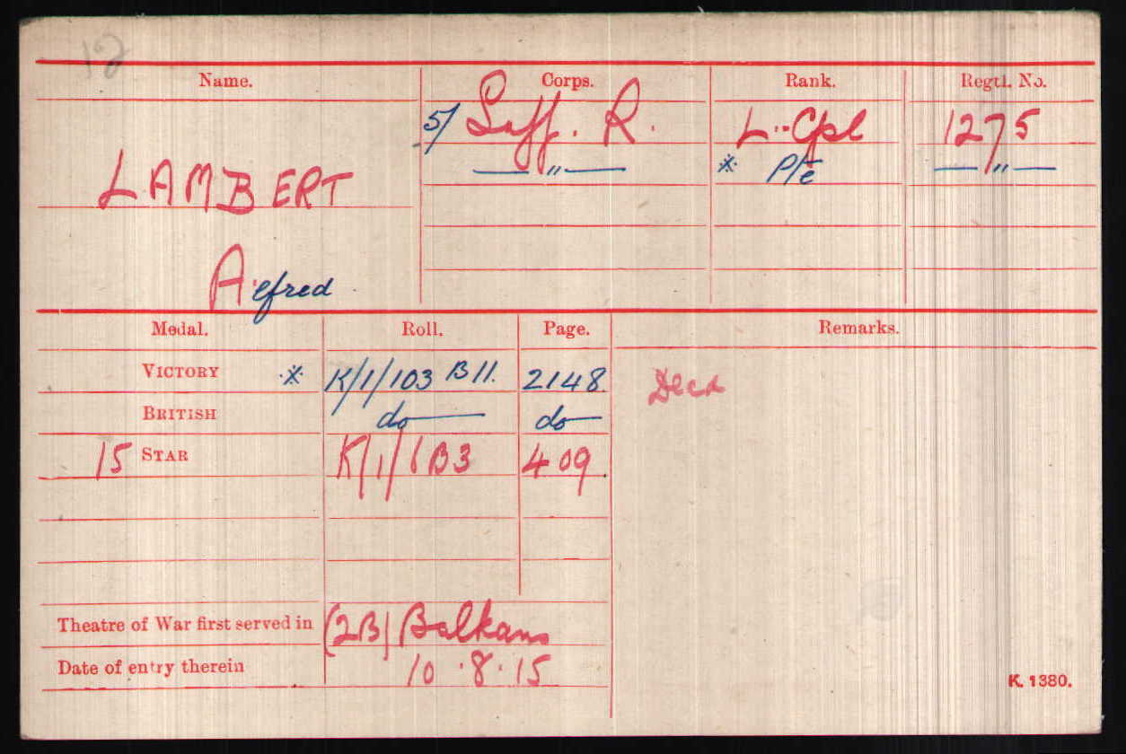 Alfred Lambert's Medal Index Card