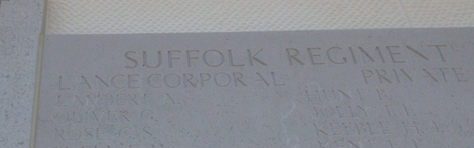 Alfred's name engraved on the Helles Memorial alongside his fallen comrades