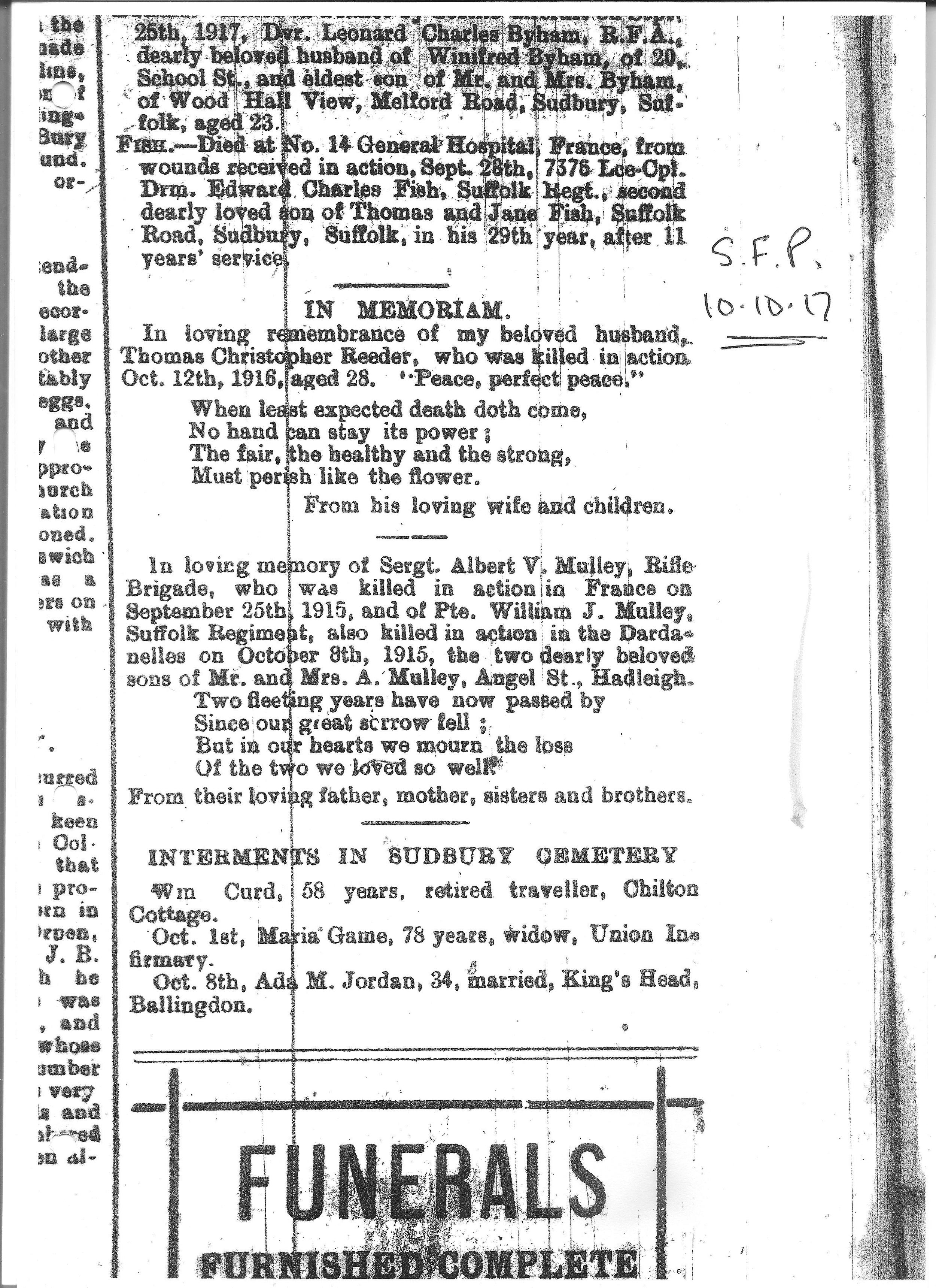 A memorial notice placed in the Suffolk Free Press in October 1917