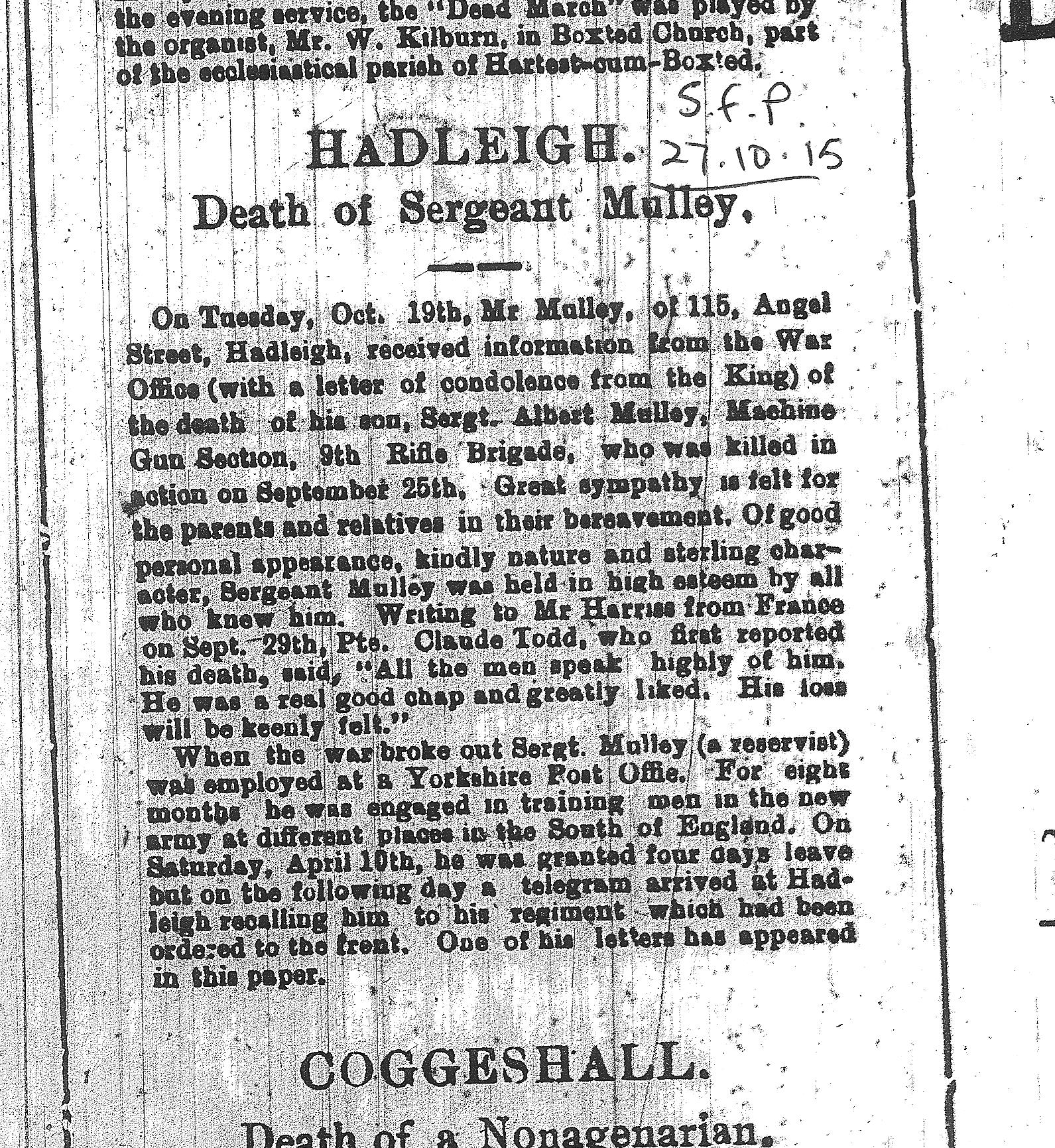 Death notice taken from the Suffolk Free Press of October 1915