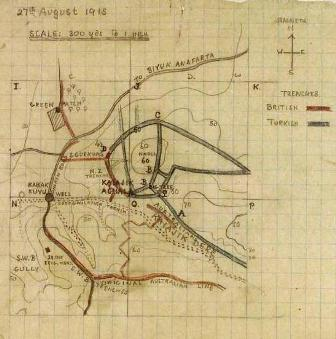 Sketched trench map showing the trenches around Hill 60.