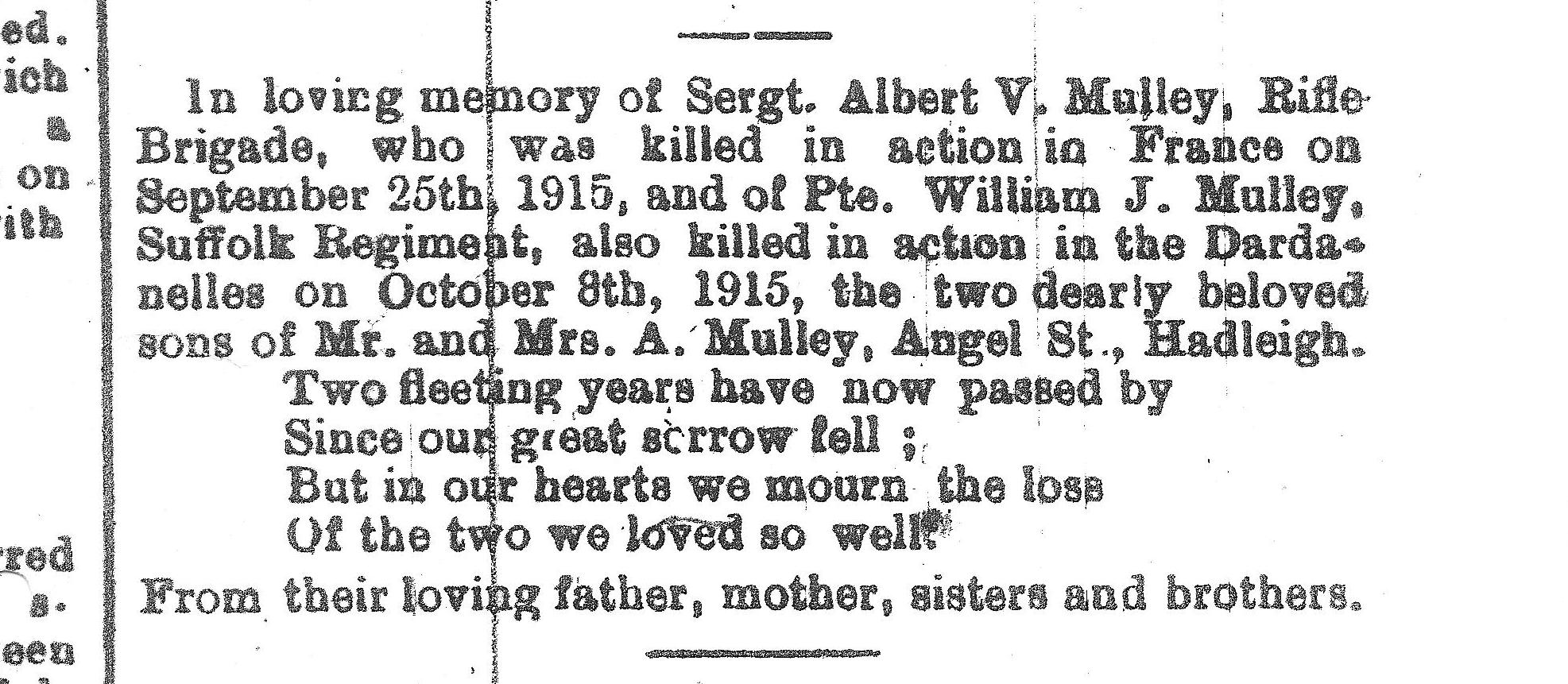 In Memoriam - posted in the Suffolk Free Press of 10 October 1917