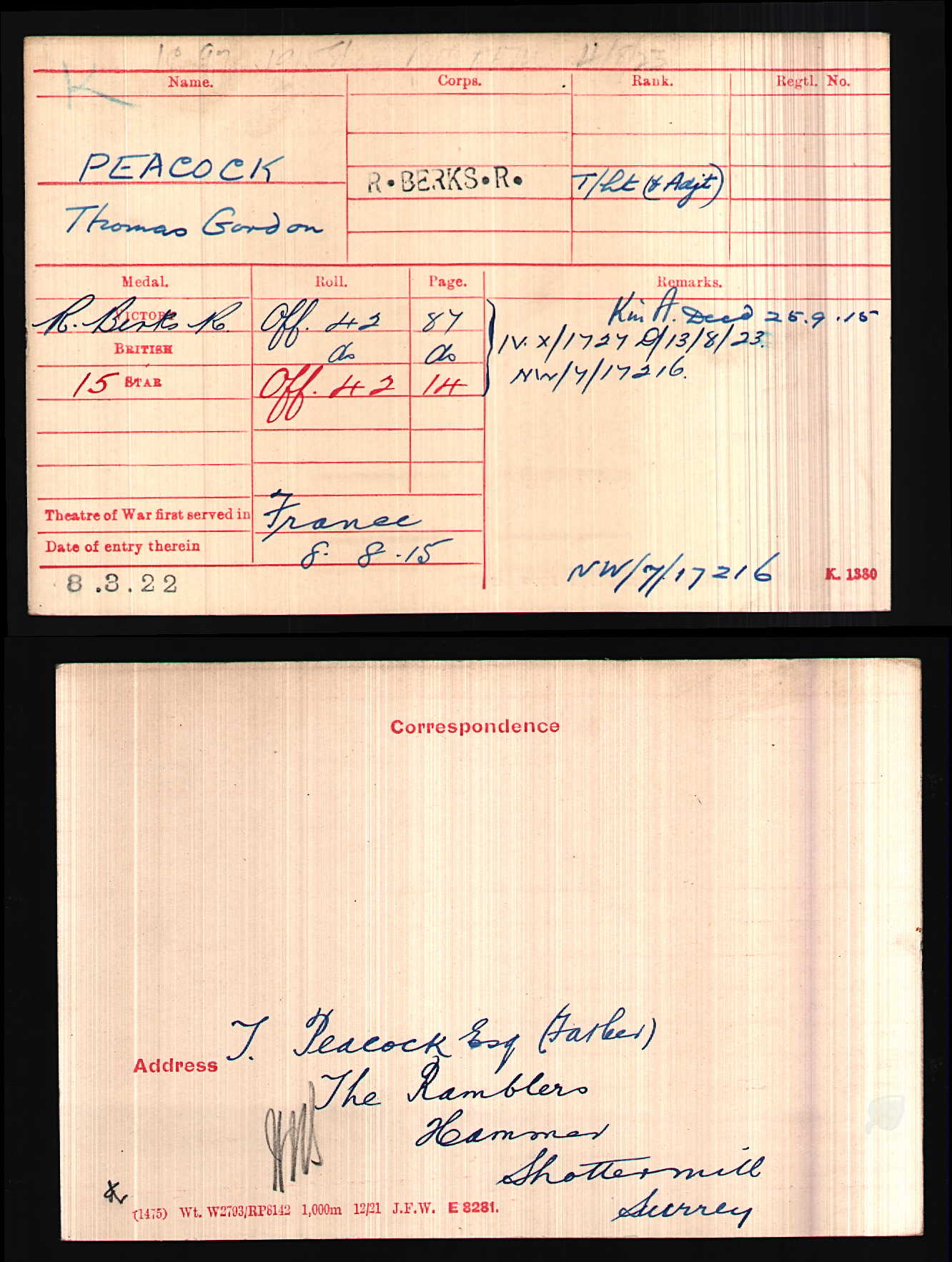 Thomas Gordon Peacock medal card.jpg