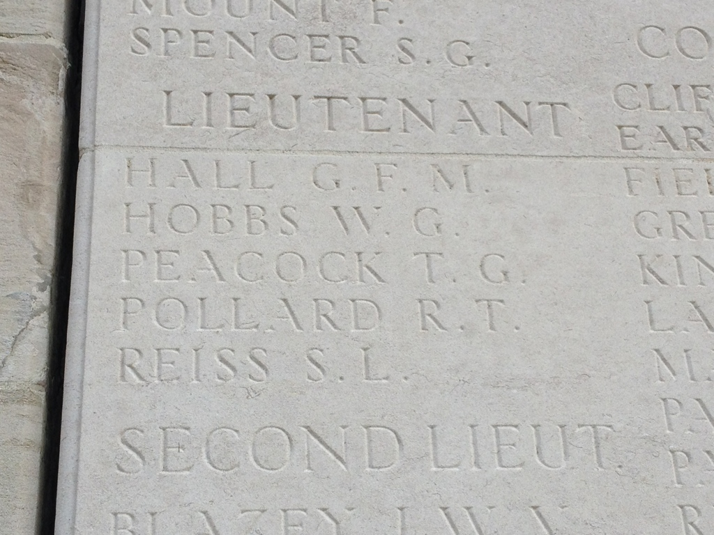 Name engraved on memorial wall at Dud Corner