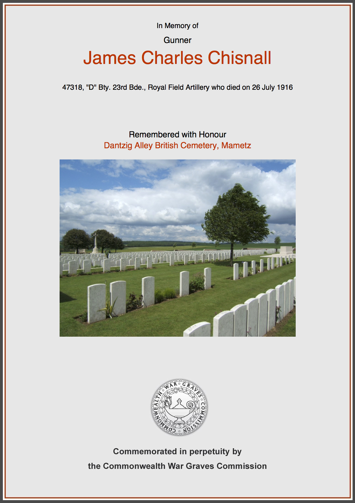 James Charles Chisnall's CWGC Commemorative Certificate