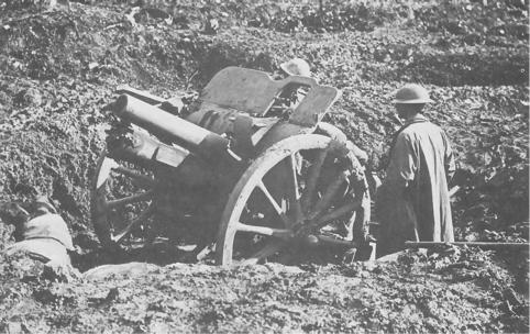 Gun crew manning a 4.5 in field howitzer