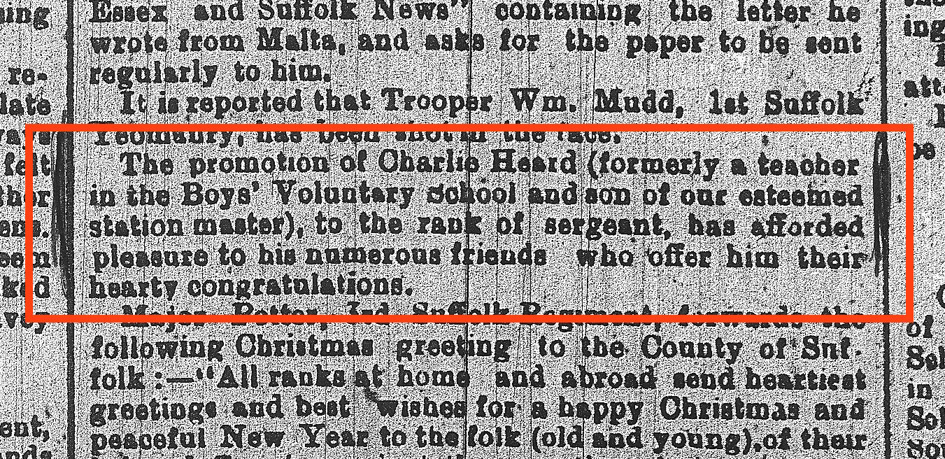 From Suffolk Free Press of 22 Dec 1915