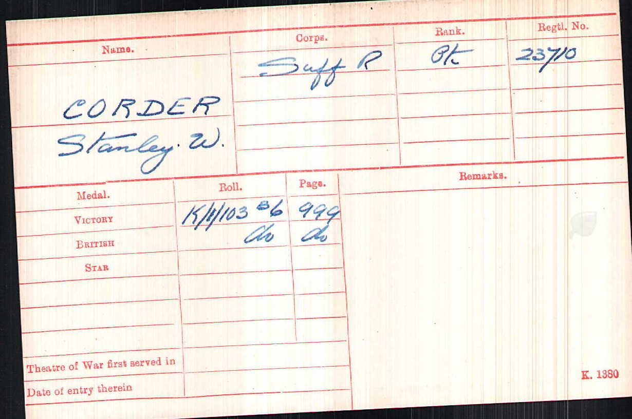 Private Stanley William Corder's Medal Index Card