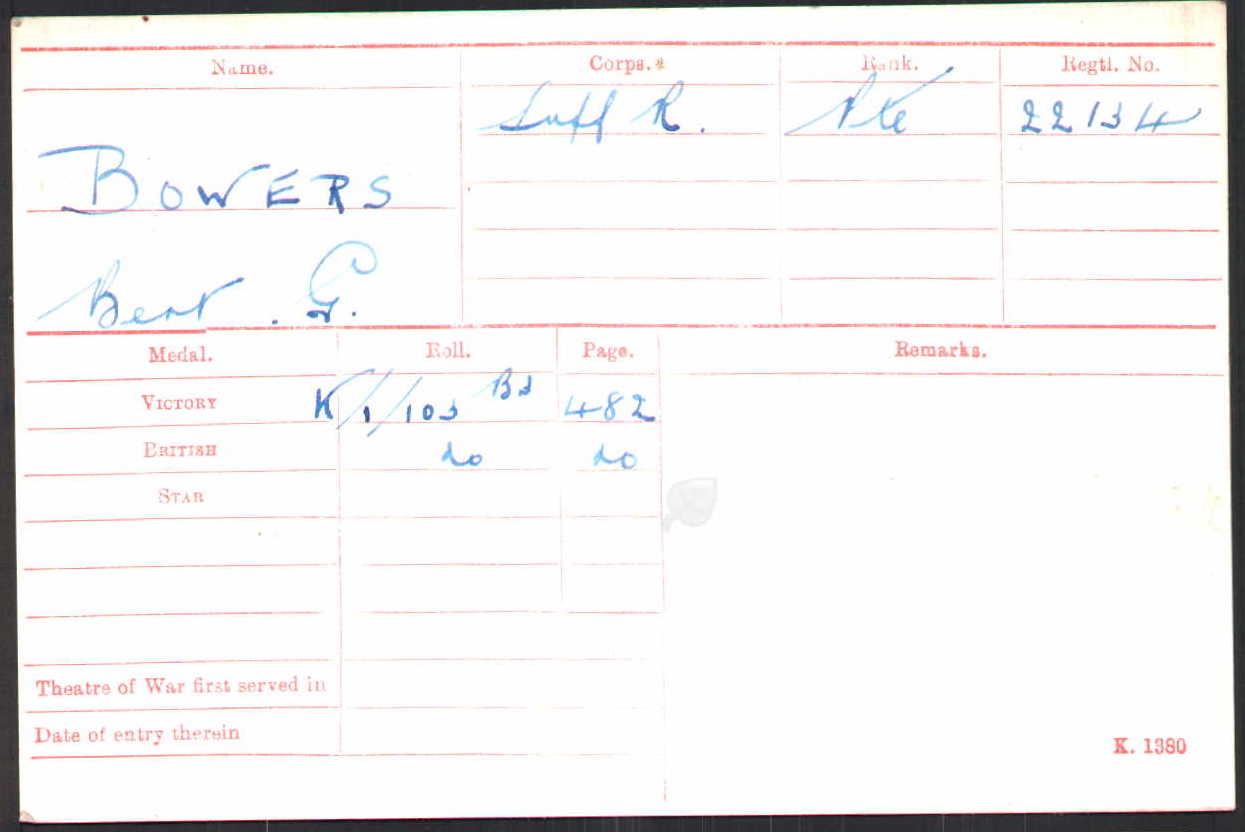 Private Bert Bowers' Medal Index Card