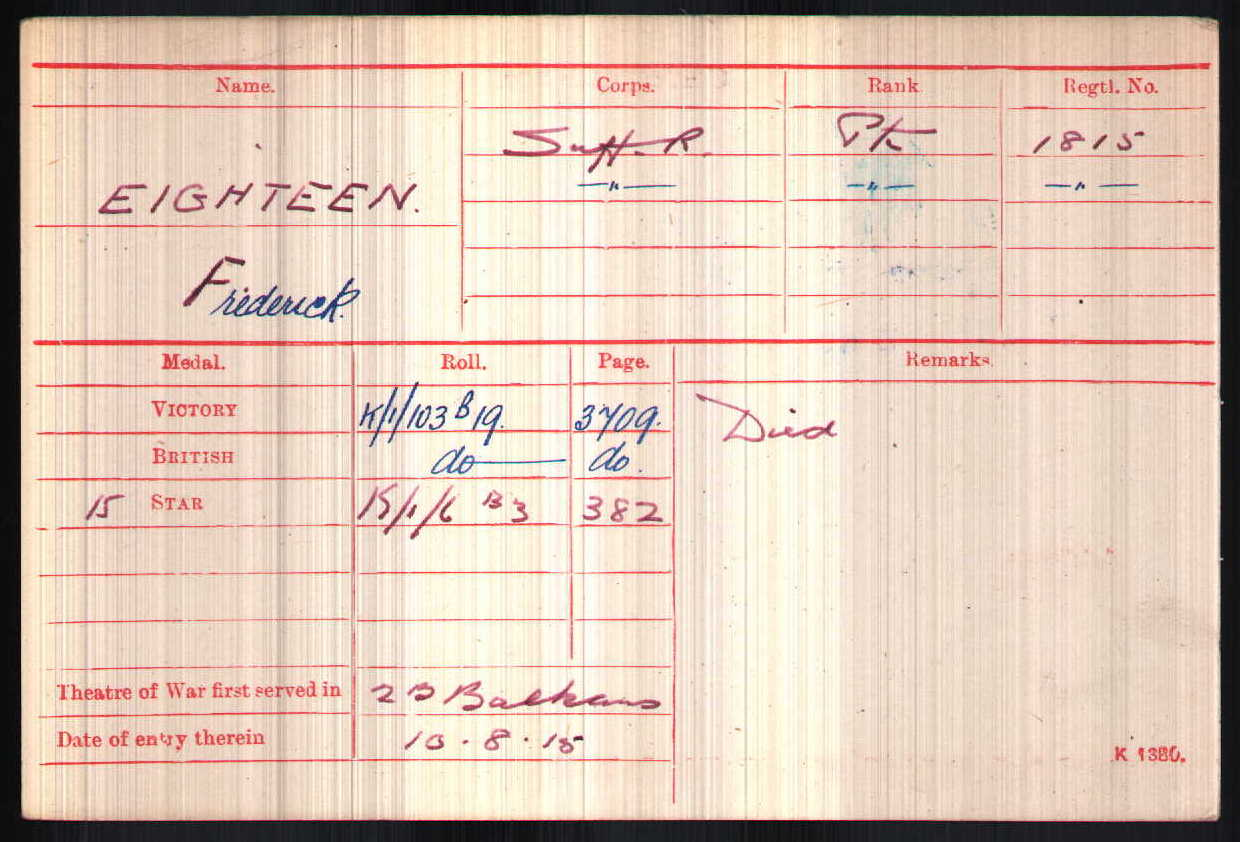 Frederick Charles Eighteen's Medal Index Card