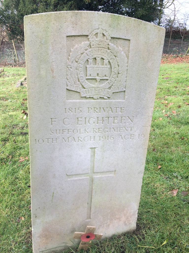 Frederick's headstone in Hadleigh Cemetery