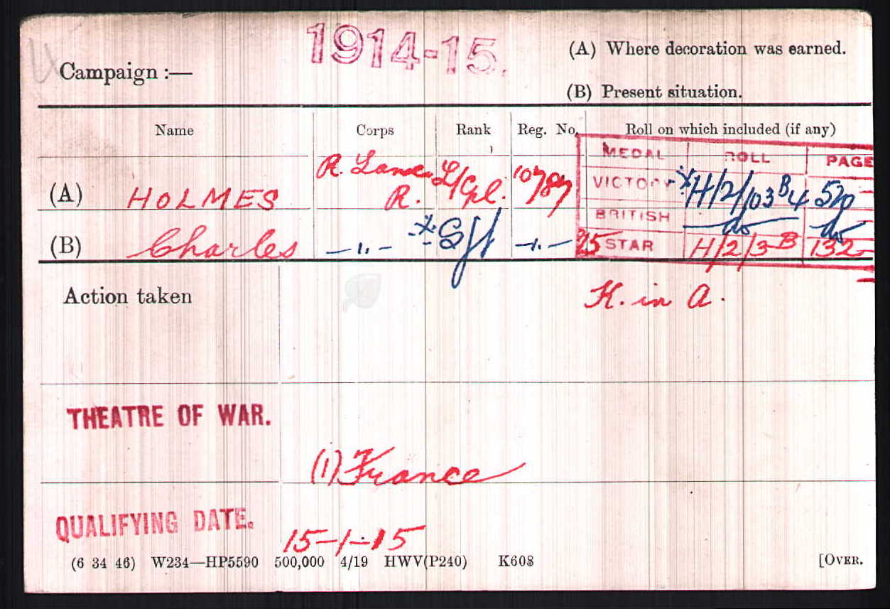Serjeant Holmes' Medal Index Card.
