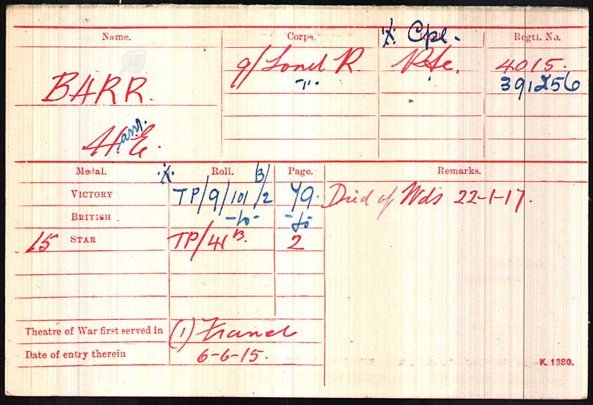 Corporal Barr's Medal Index Card