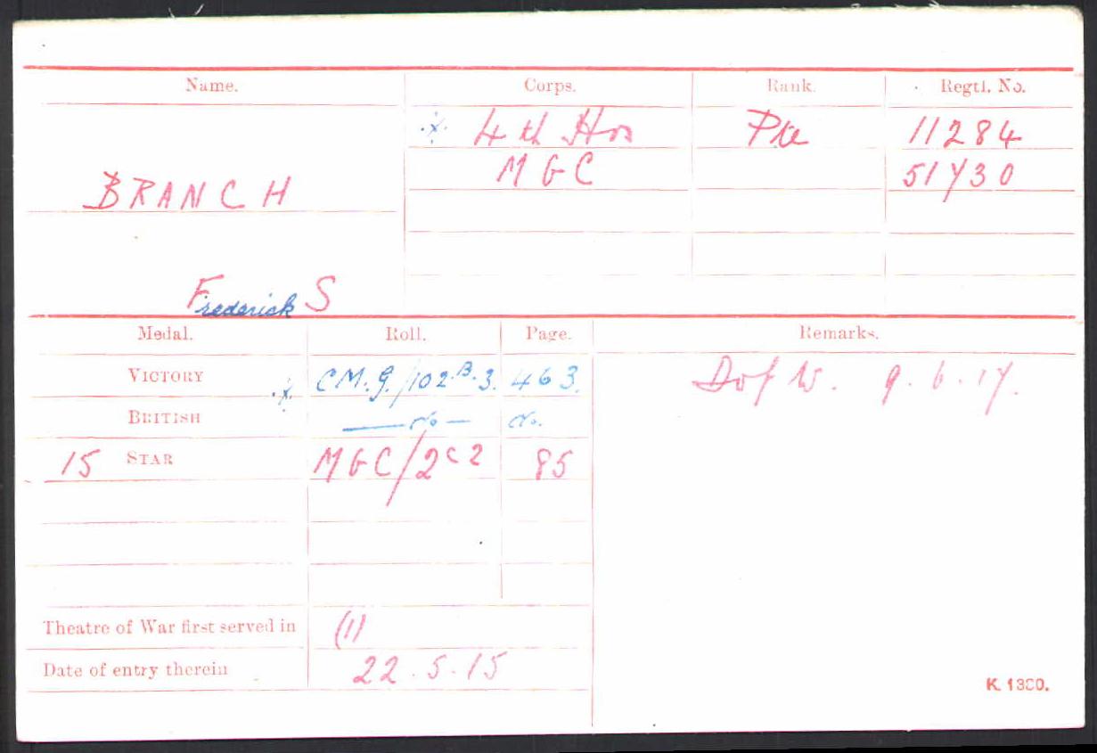 Frederick's Medal Index Card