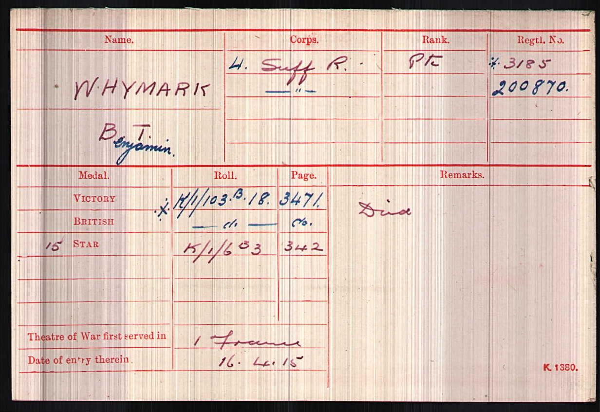 Private Benjamin Whymark's Medal Index Card