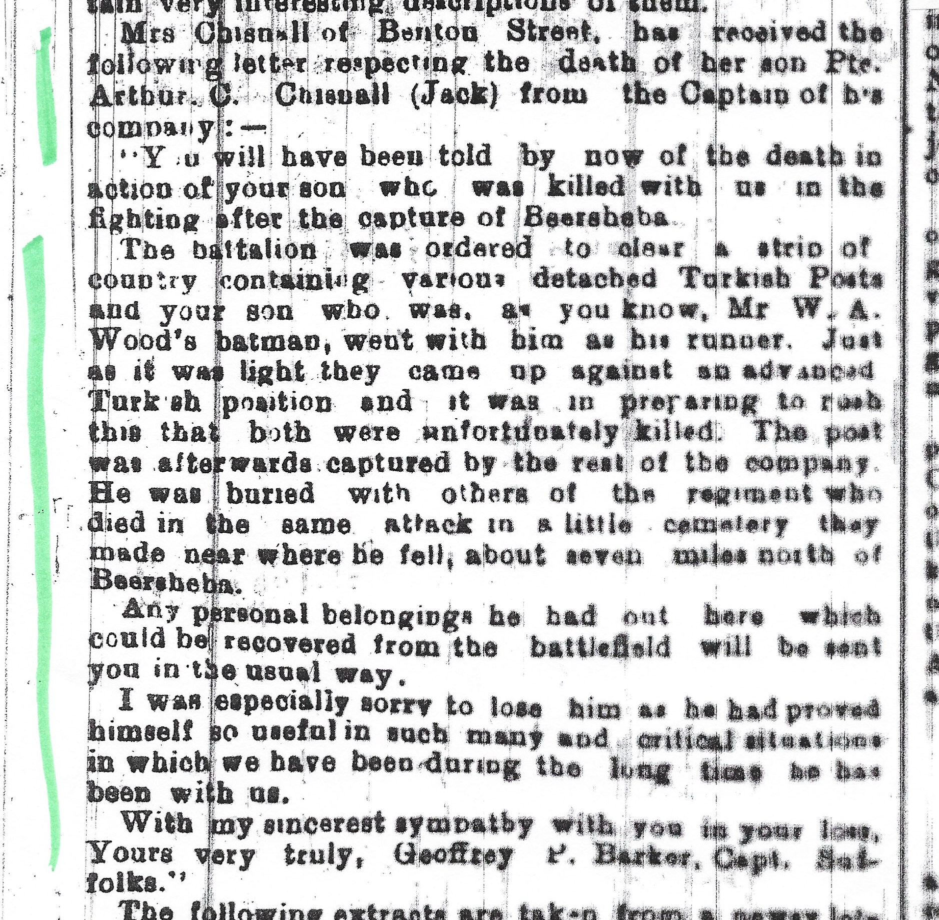 Obituary from 2 January 1918 edition of the Suffolk Free Press