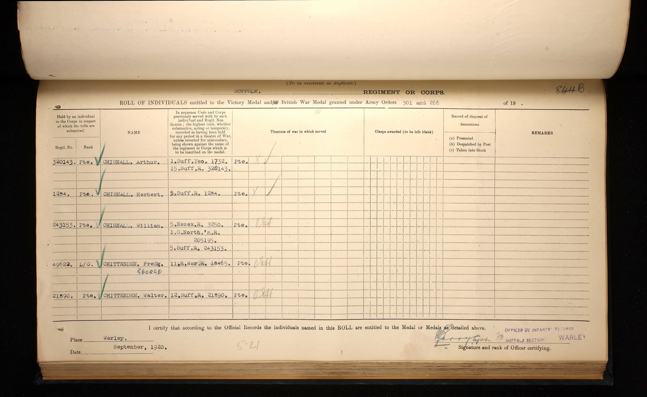 Arthur James Chisnball medal register.jpg