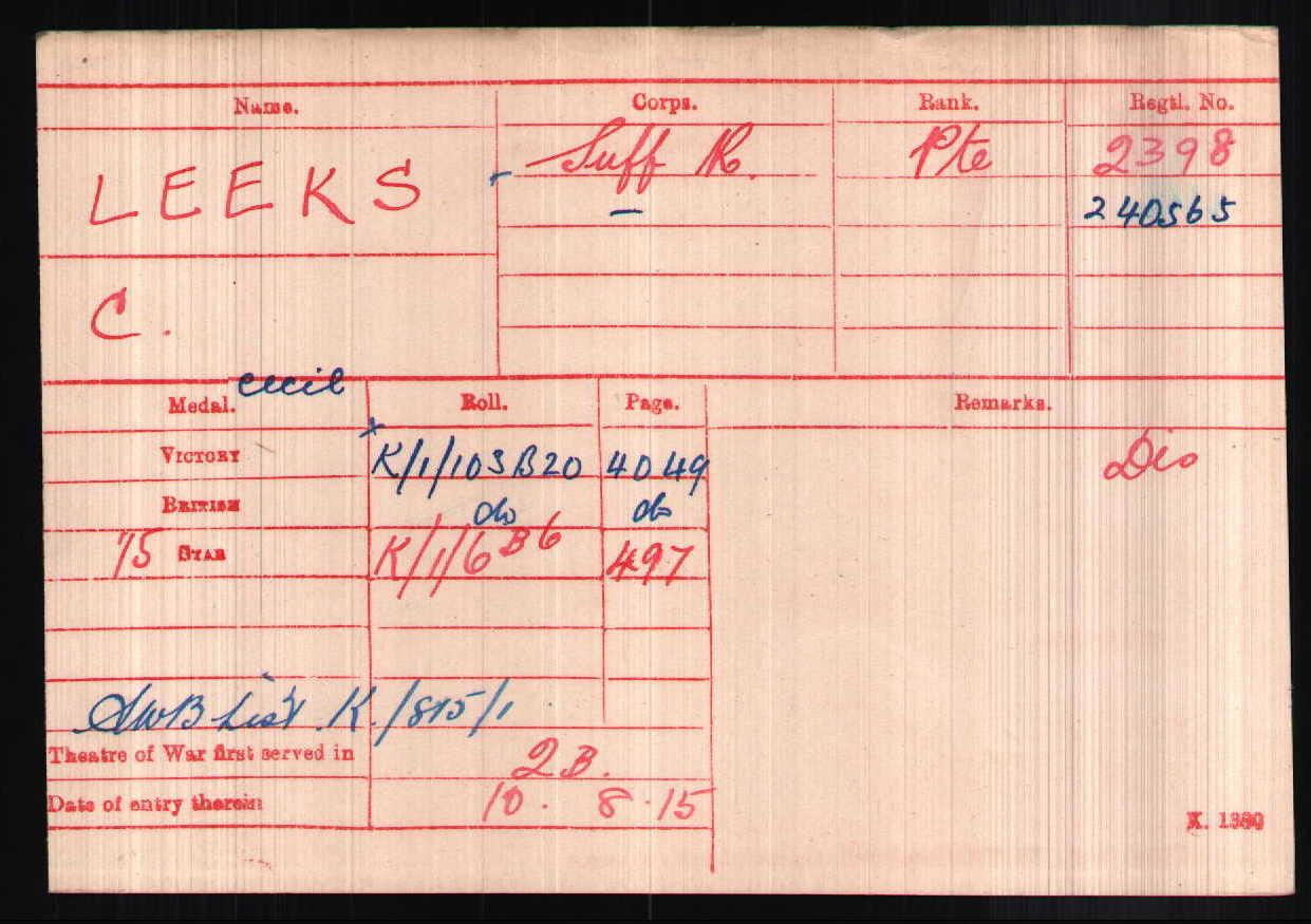 Cecil Leek's Medal Index Card