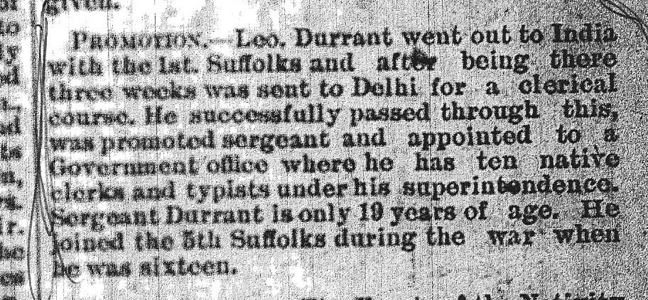 News of Serjeant Durrant's promotion reaches Hadleigh