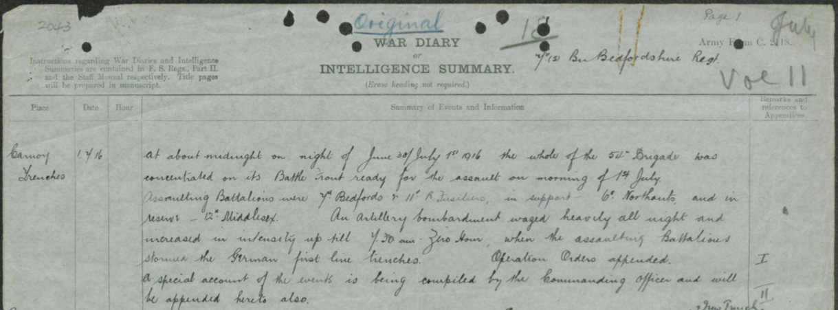 1 July 1916 war diary entry.png