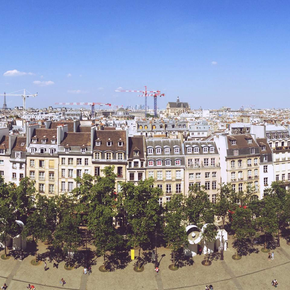 The sight of Paris from the upper floor of the Centre Pompidou.