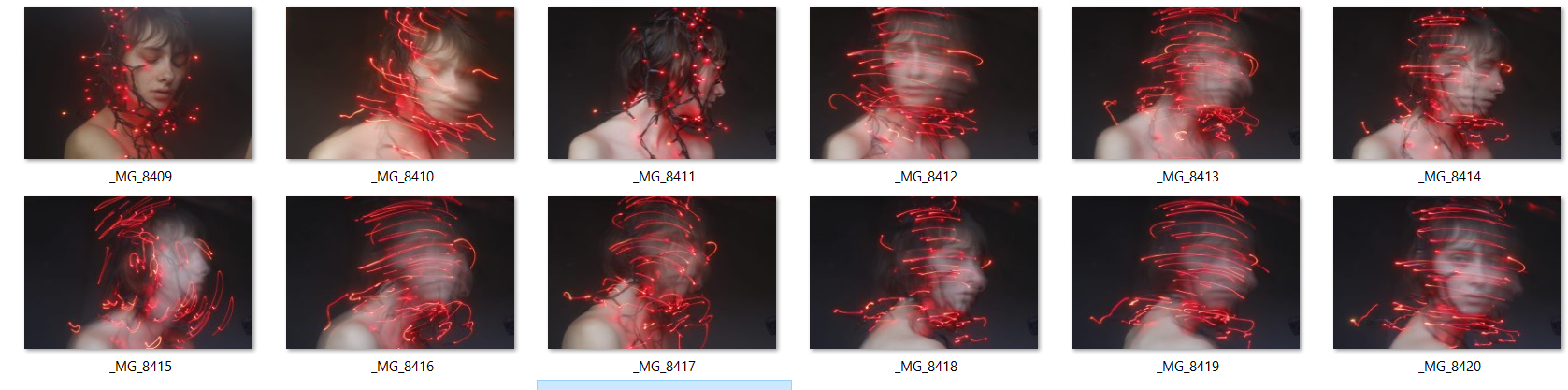 Some of the failed attempts at creating a selfportrait with lights. I didn't like how blurry some of the shots were, nor the absolutely clarity of the others. That is why I needed to retake the photos numerous times before finally nailing the right combination of shutter speed and my body movement.