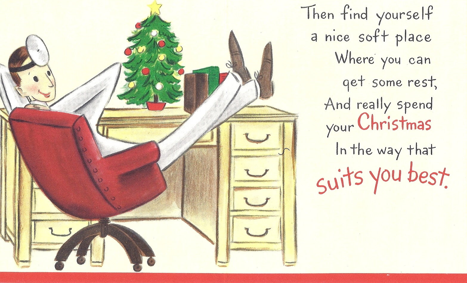 One of the many strange vintage Christmas cards found in our office cupboard!