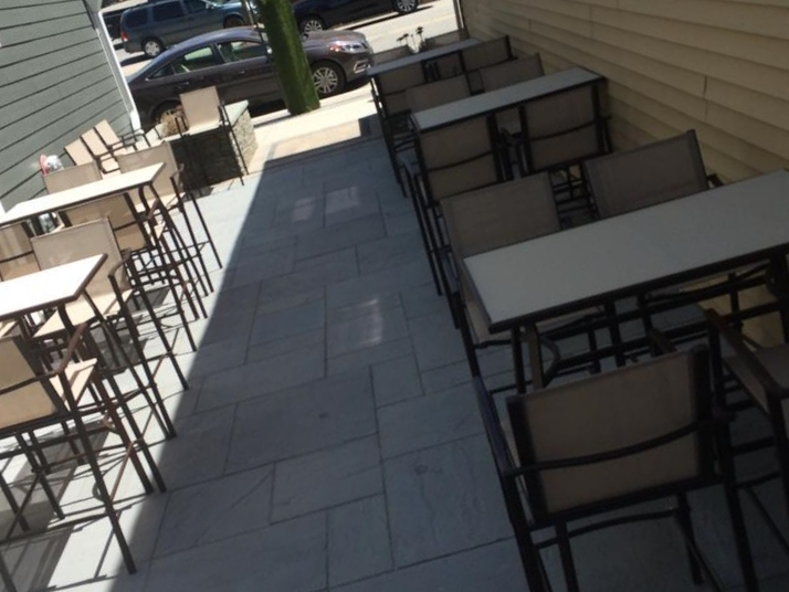 A finished shot of the outdoor dining space.