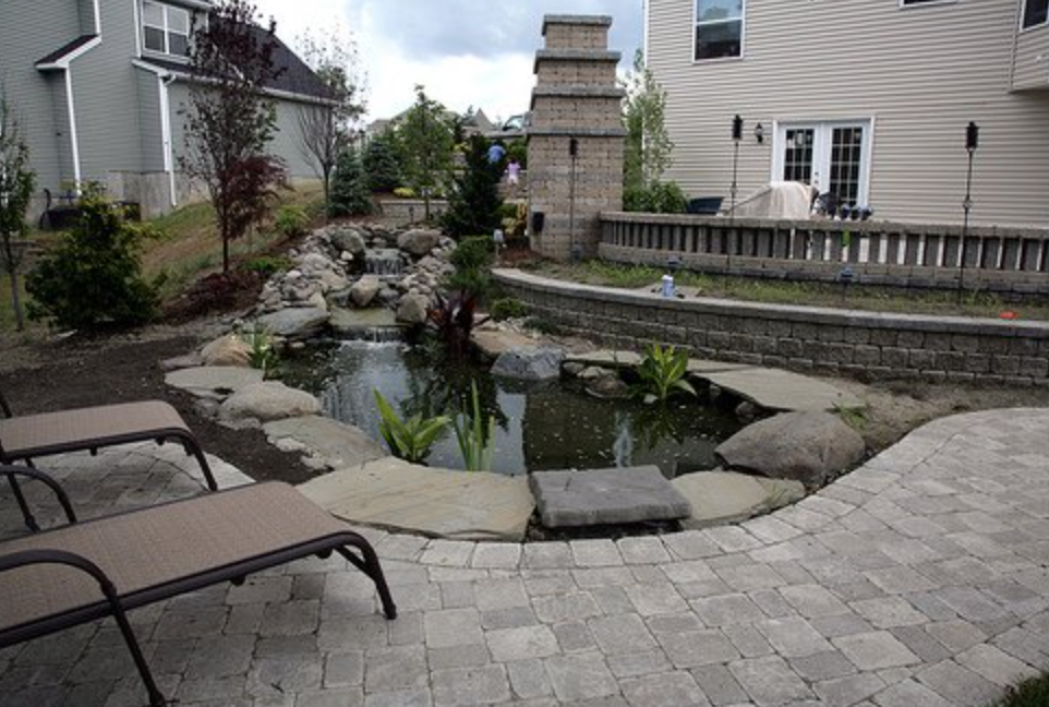 Water Gardens and Patio installed by Landworx of NY in the Hudson Valley.