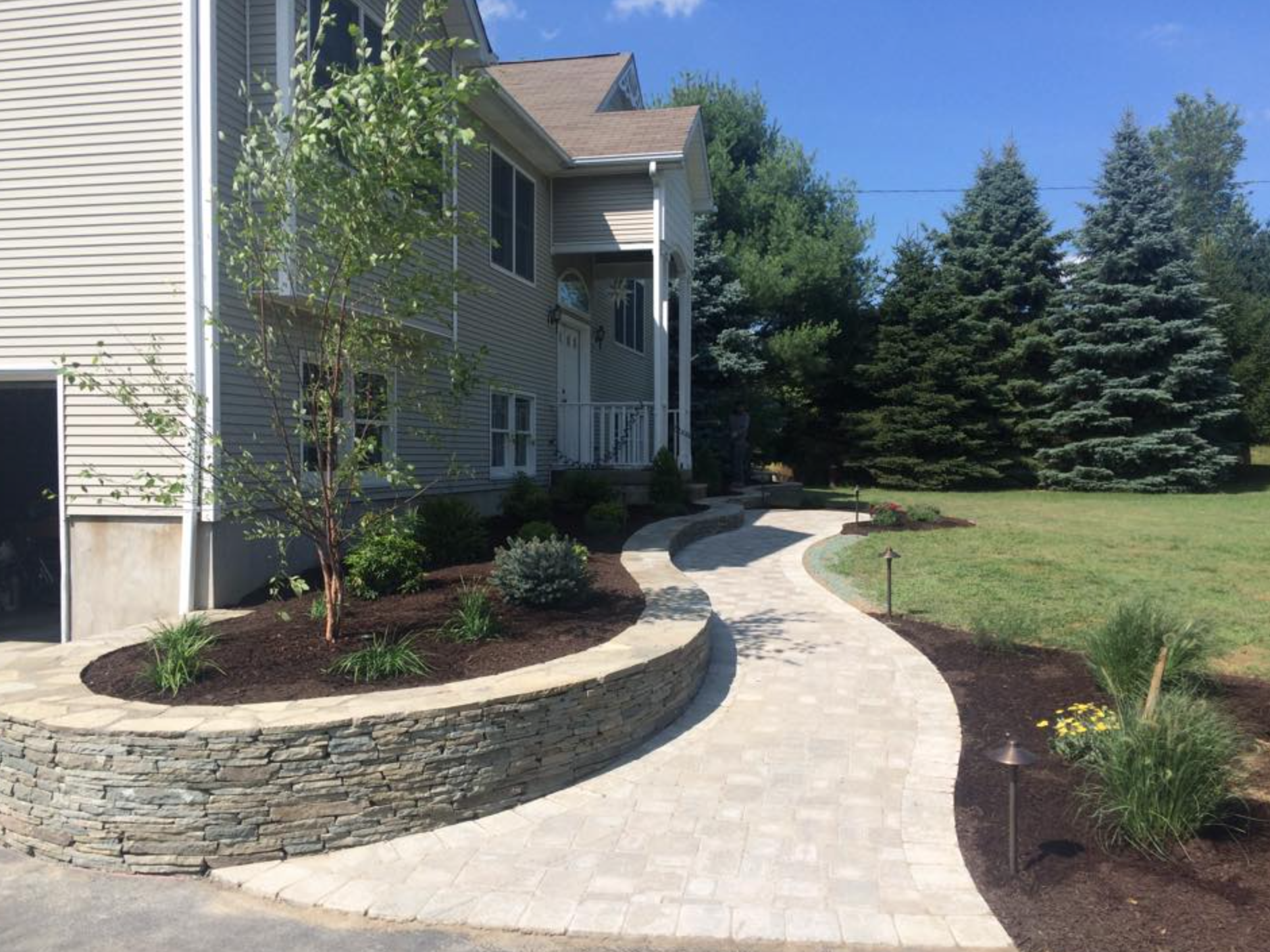 Landscaping ideas in Monroe, New York for walkway and retaining wall