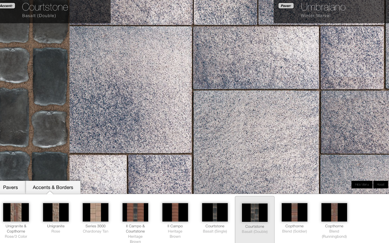 Unilock Paver Pattern tool, Uvision, allows consumers to visualize their new paver or walkway pavers.