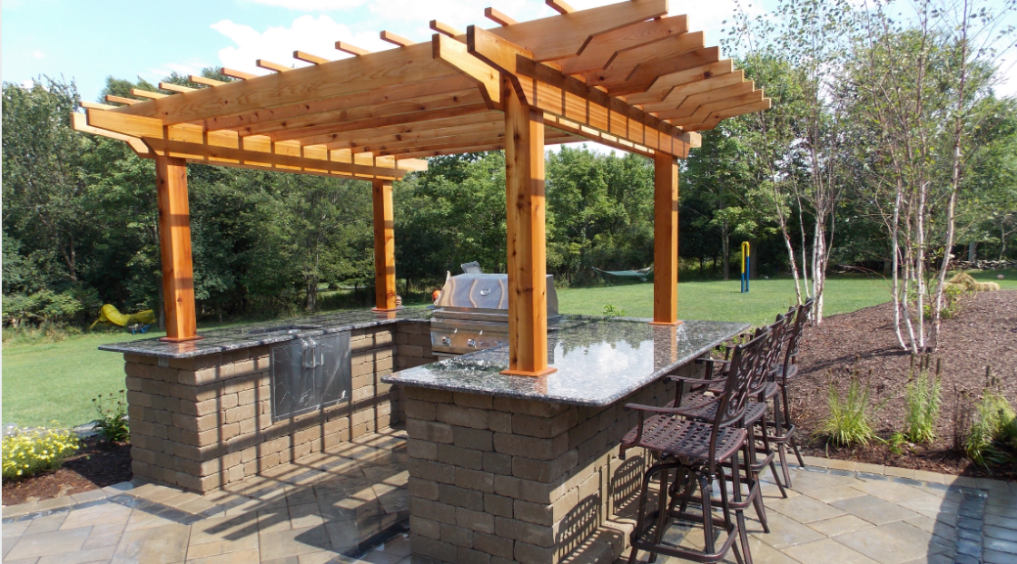 pergola, outdoor kitchen, landscaping in goshen and bethel, ny