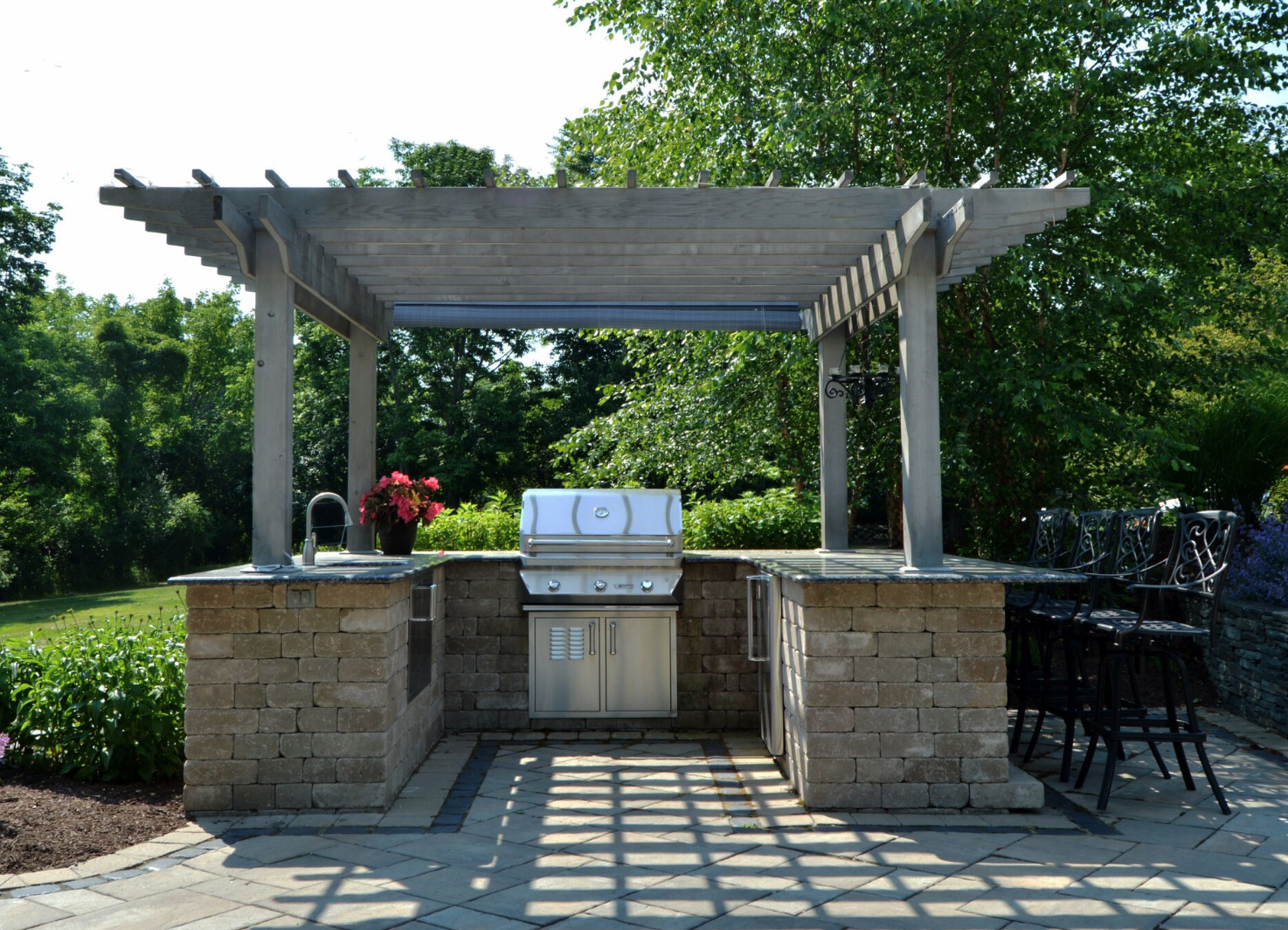 Landscaping in Pine Island NY - custom patio, masonry, pergola and outdoor kitchen