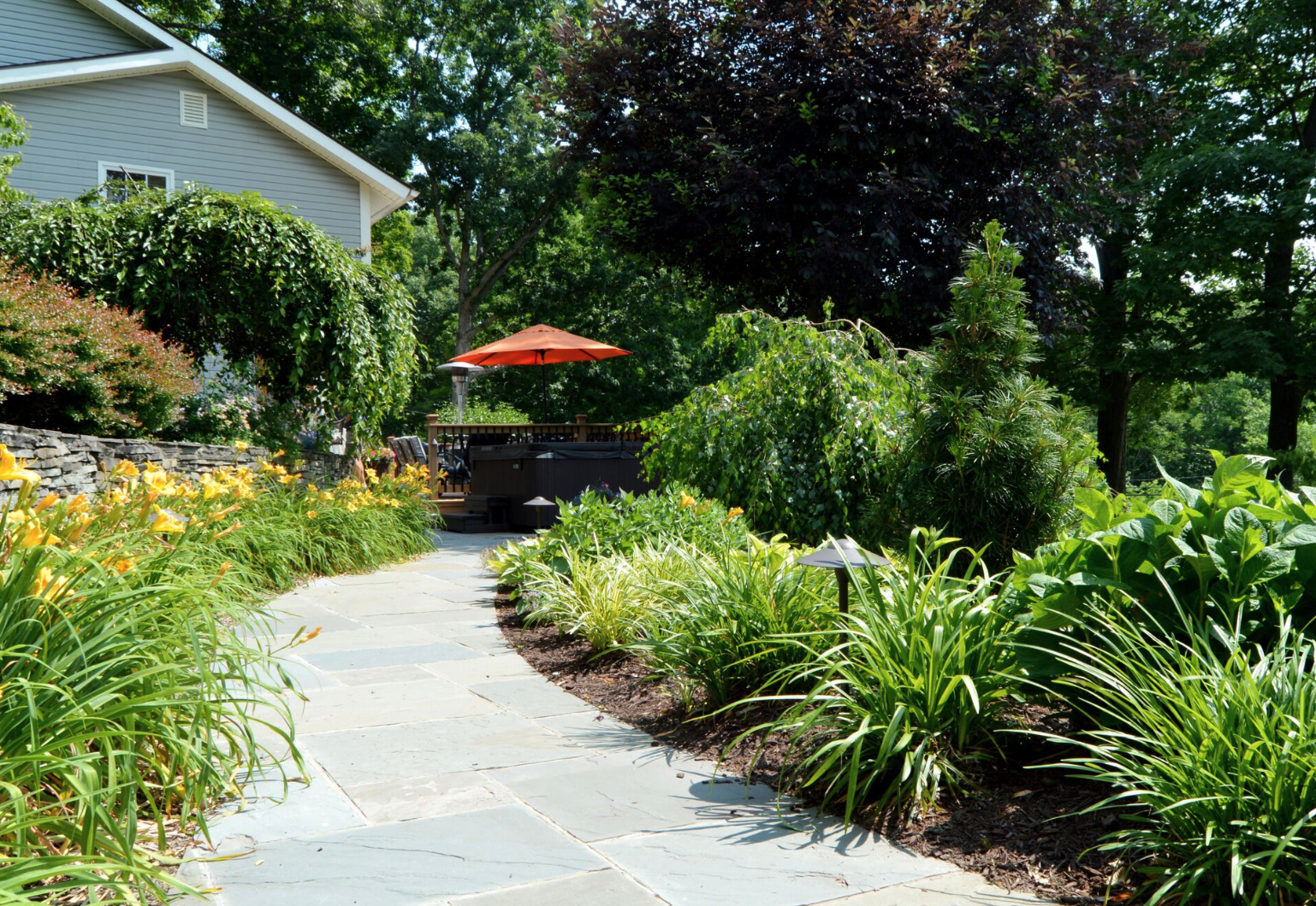 Landscaping ideas in Bethel, New York for walkway and plantings