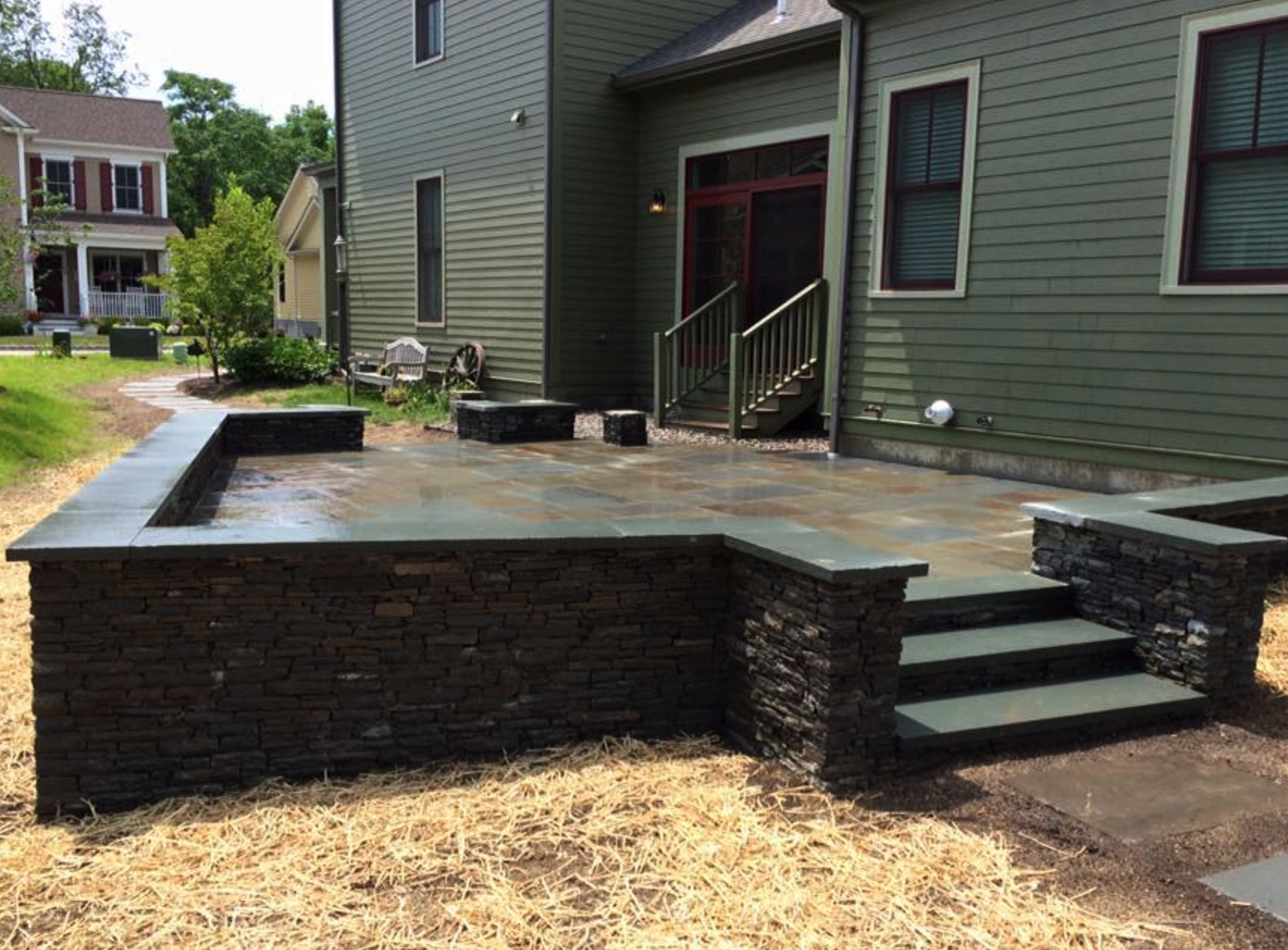 Landscape design with custom patio in Monroe NY