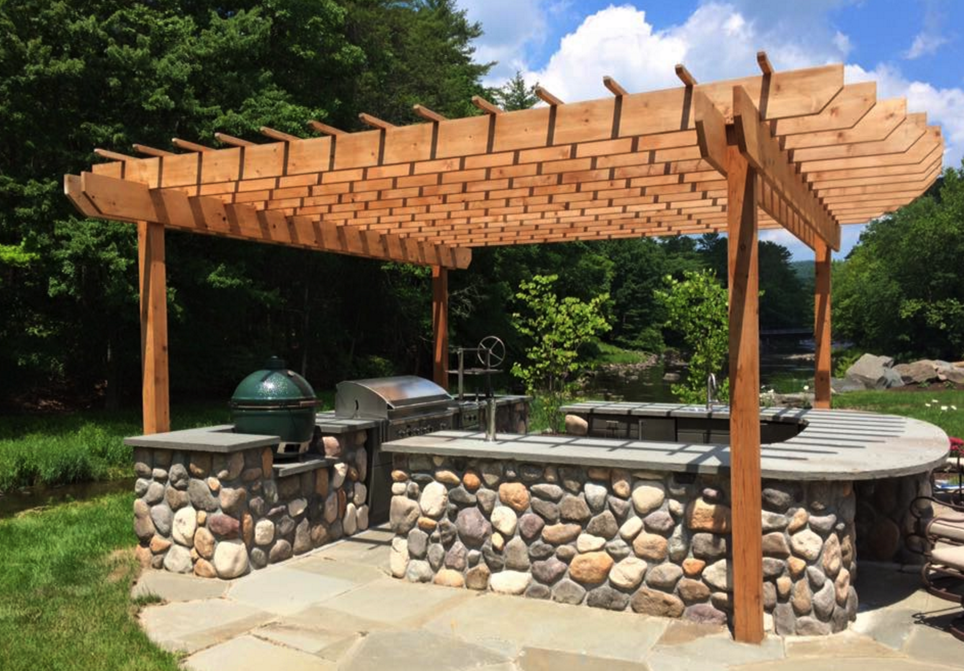 Pergola and outdoor kitchen - landscaping in Bethel, New York