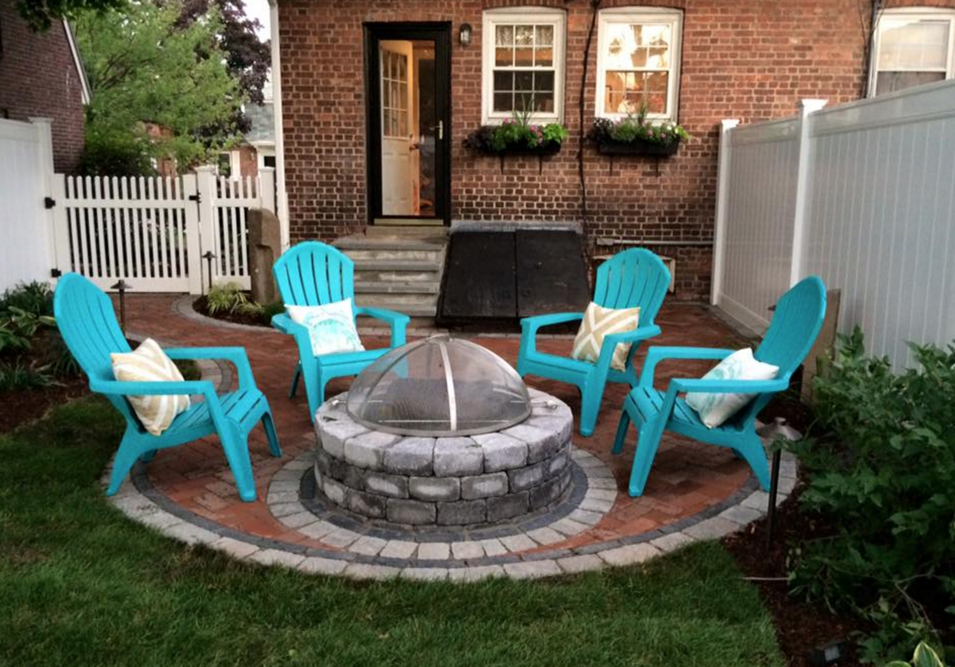 after picture of the patio and fire pit