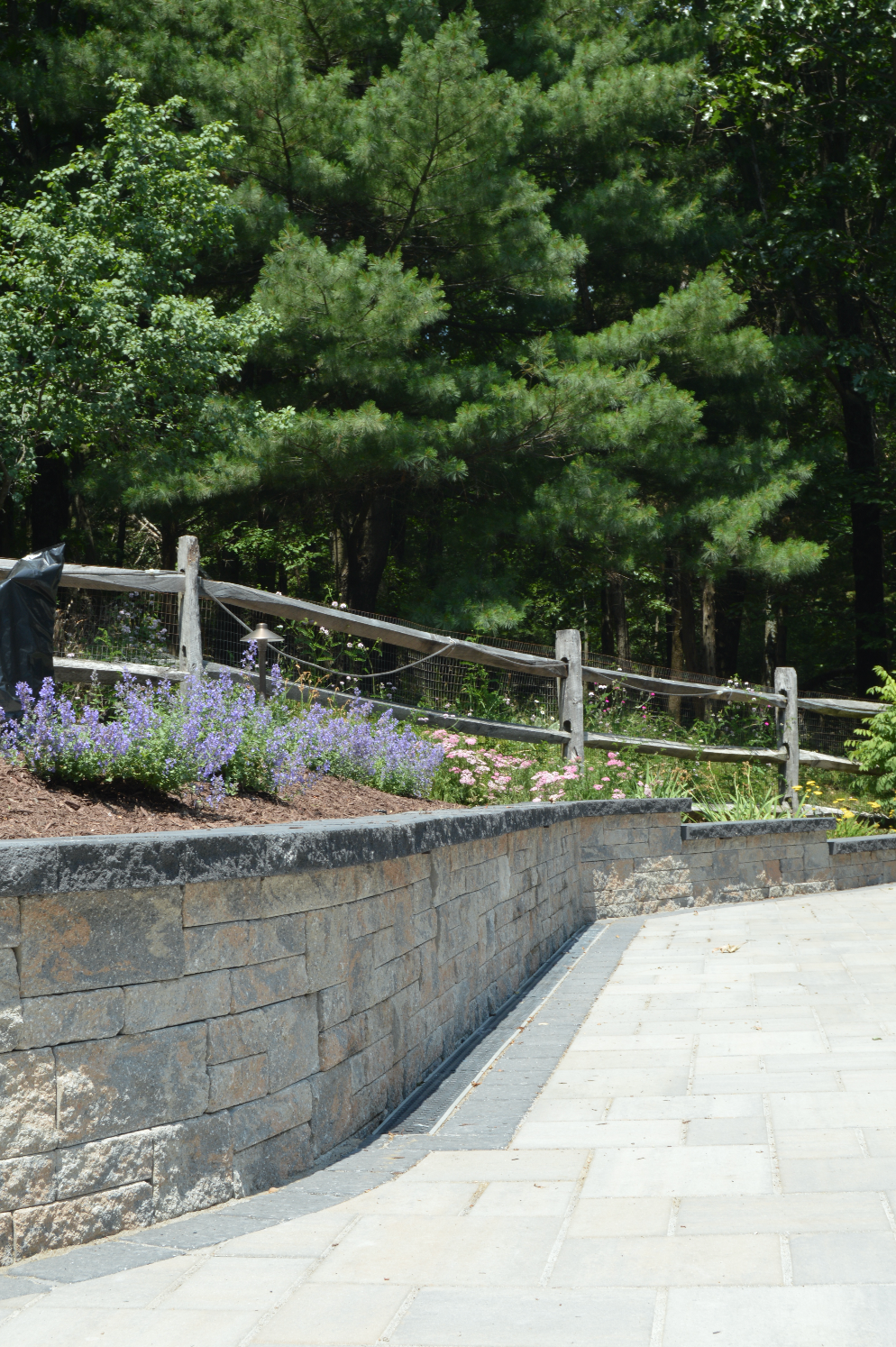Techo bloc paver patio and retaining wall in Sugarloaf, NY